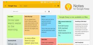 Captura de tela do Google Keep para desktop.